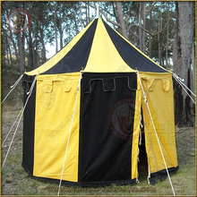 Black & Yellow Pavilion - Striped Round Tent (3m Diameter)