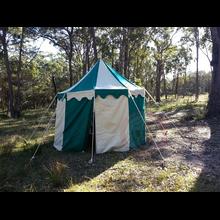 Green + White Pavilion - Striped Round Tent (3m diameter) Long Shot