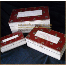 Hand painted Antiqued Flower chests - set of 3