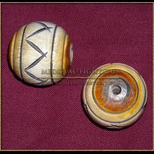 Wooden Sphere bead/button crisscross