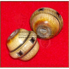 Wooden Sphere bead/button raised centre collar