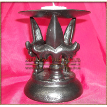Black Metal Candle Holder with slim triple Fleur de Lys
