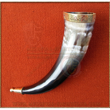 Drinking Horn - brass norse dog fittings