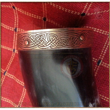 Drinking Horn - brass celtic triquetra weave fittings