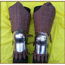 Banded leather 14thC leg guards - (splint armour)