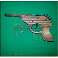 Wooden Luger pistol rubber band toy gun